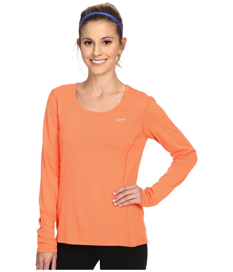 Nike - Dri-FIT Contour Long Sleeve (Light Wild Mango/Reflective Silver) Women's Clothing