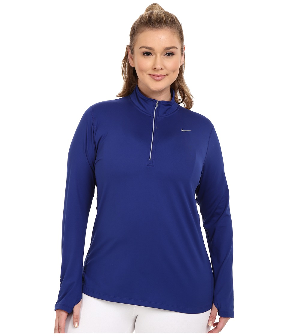 Nike - Dry Element 1/4 Zip Running Top (Size 1X-3X) (Deep Royal Blue/Reflective Silver) Women's Long Sleeve Pullover