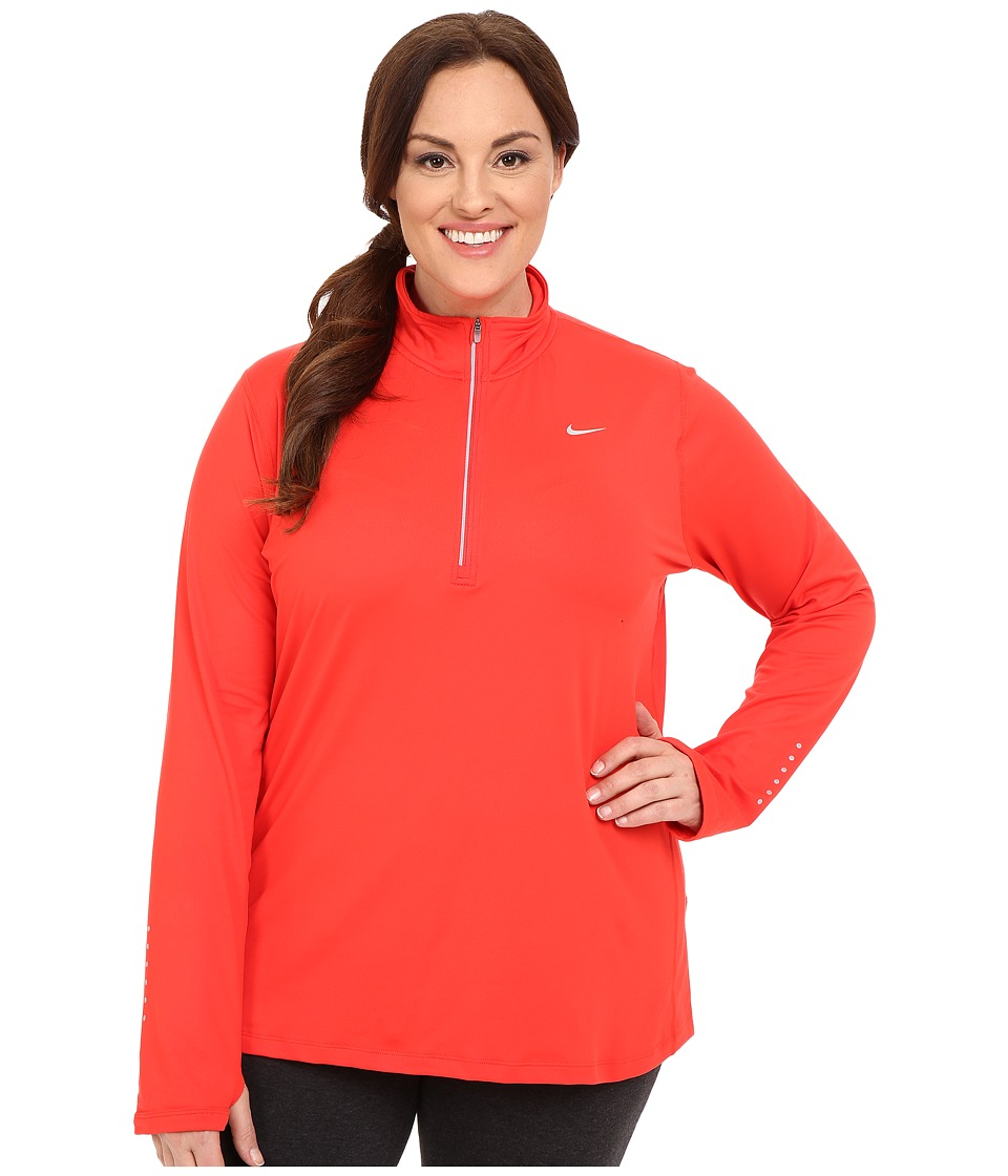 Nike - Dry Element 1/4 Zip Running Top (Size 1X-3X) (Light Crimson/Reflective Silver) Women's Long Sleeve Pullover