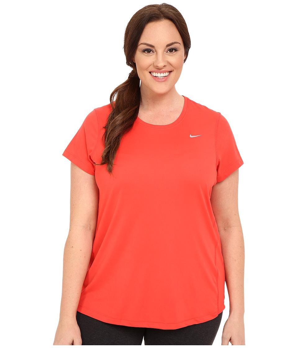 Nike - Miler Short-Sleeve Running Top (Size 1X-3X) (Light Crimson/Reflective Silver) Women