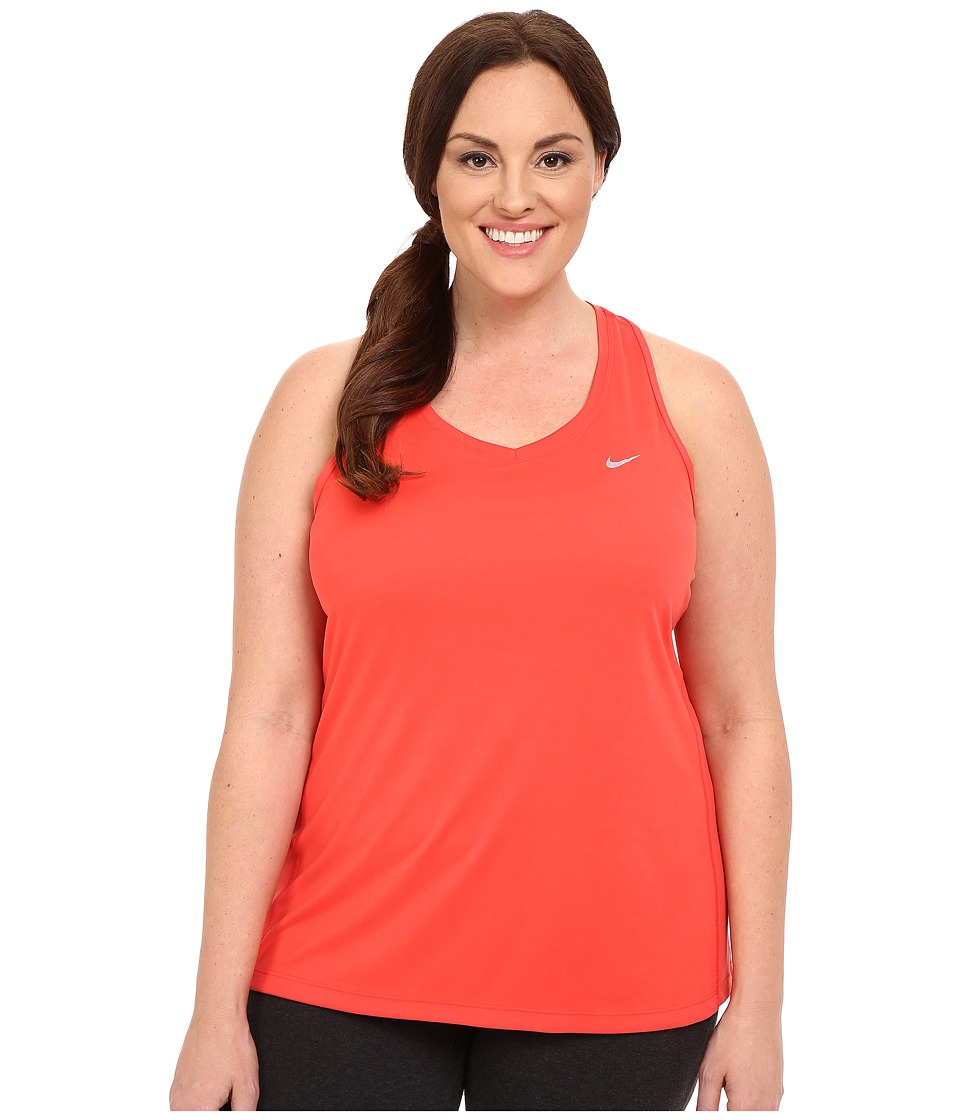 Nike - Dry Miler Running Tank (Size 1X 2X 3X) (Light Crimson/Reflective Silver) Women's Sleeveless plus size,  plus size fashion plus size appare