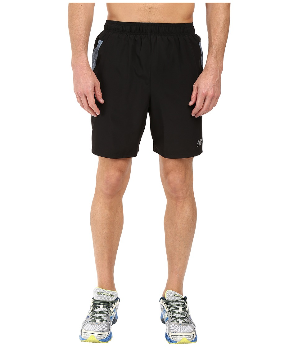 New Balance - 7 Woven Run Shorts (Black/Grey) Men's Shorts