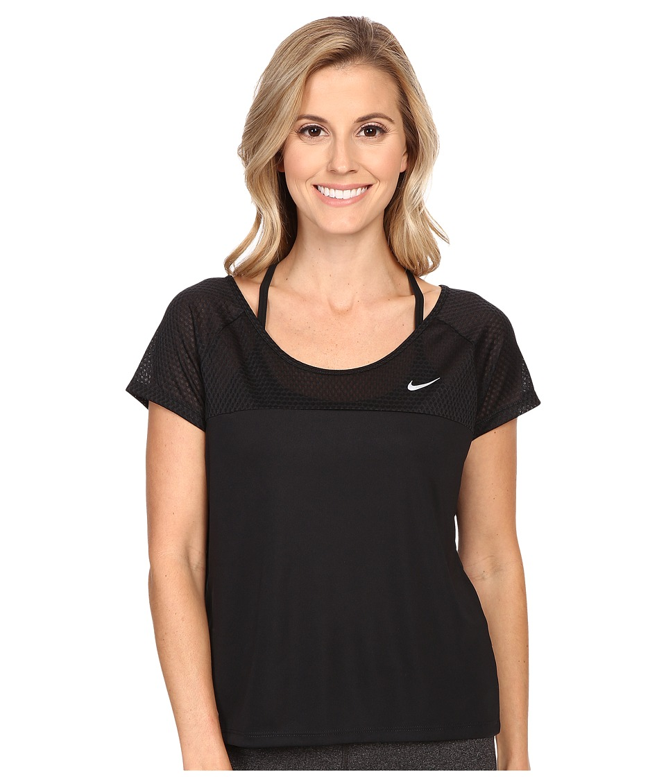 Nike - Run Fast Running Top (Black/Reflective Silver) Women's Short Sleeve Pullover