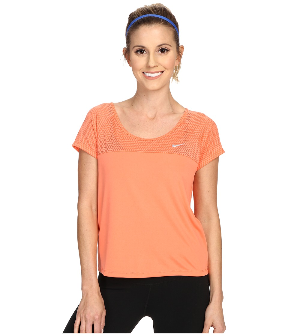 Nike - Run Fast Running Top (Light Wild Mango/Reflective Silver) Women's Short Sleeve Pullover