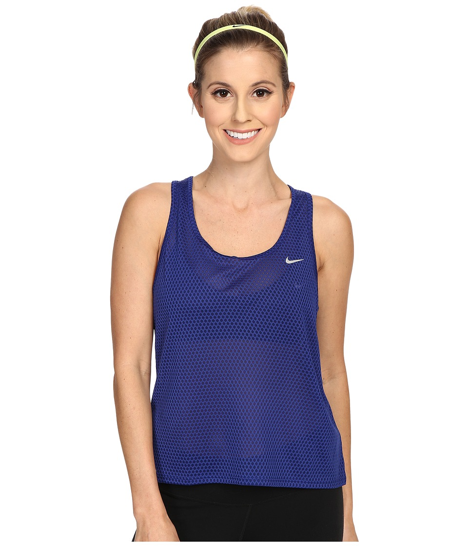 Nike - Run Fast Tank Top (Deep Royal Blue/Reflective Silver) Women's Sleeveless