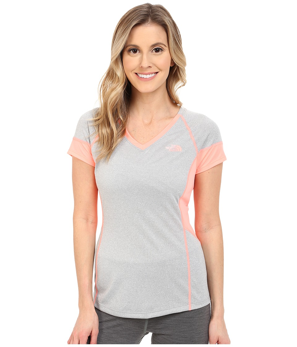 The North Face - Reactor V-Neck Short Sleeve (TNF Light Grey Heather/Neon Peach) Women's Short Sleeve Pullover