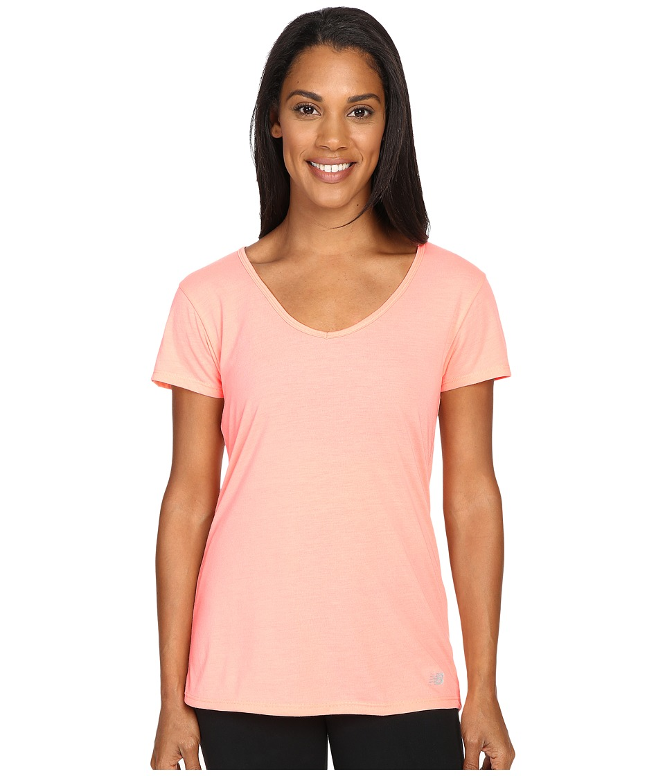 New Balance - SS Performance Top (Cosmic Coral) Women's Short Sleeve Pullover