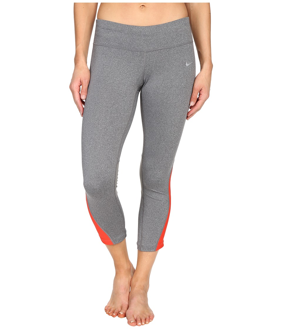 Nike - Racer Crop 3.0 Pants (Dark Grey/Heather/Light Crimson/Reflective Silver) Women's Workout