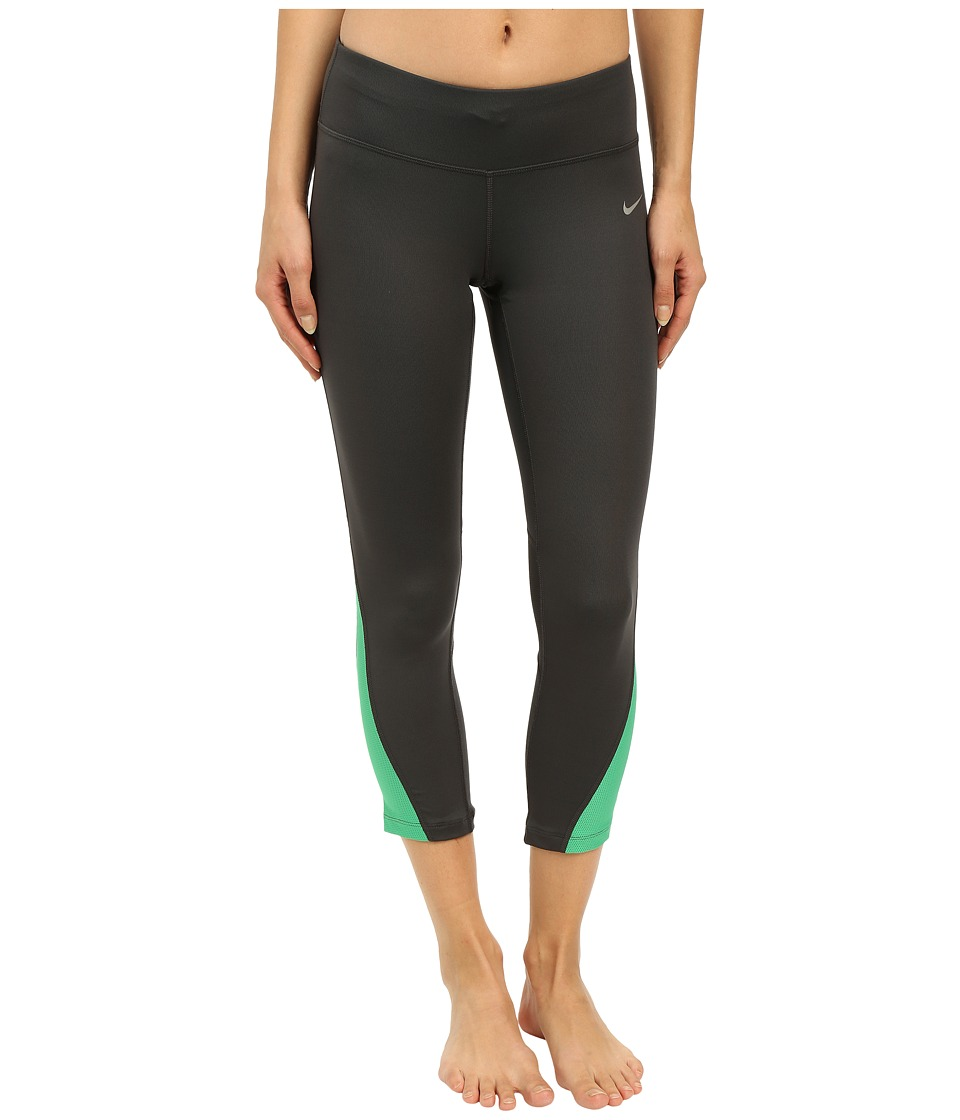 Nike - Racer Crop 3.0 Pants (Anthracite/Voltage Green/Reflective Silver) Women's Workout