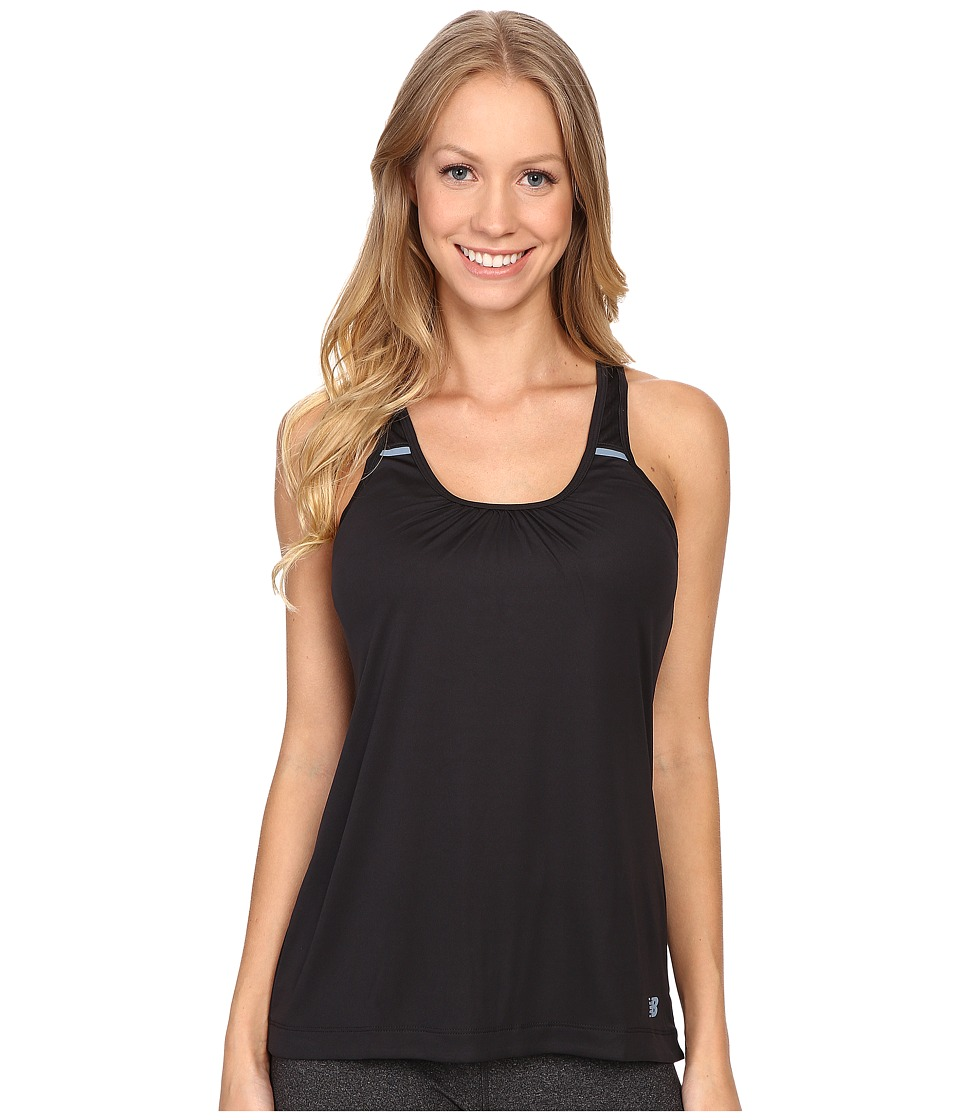 New Balance - Perforated Mesh Striped Tank Top (Black) Women's Sleeveless