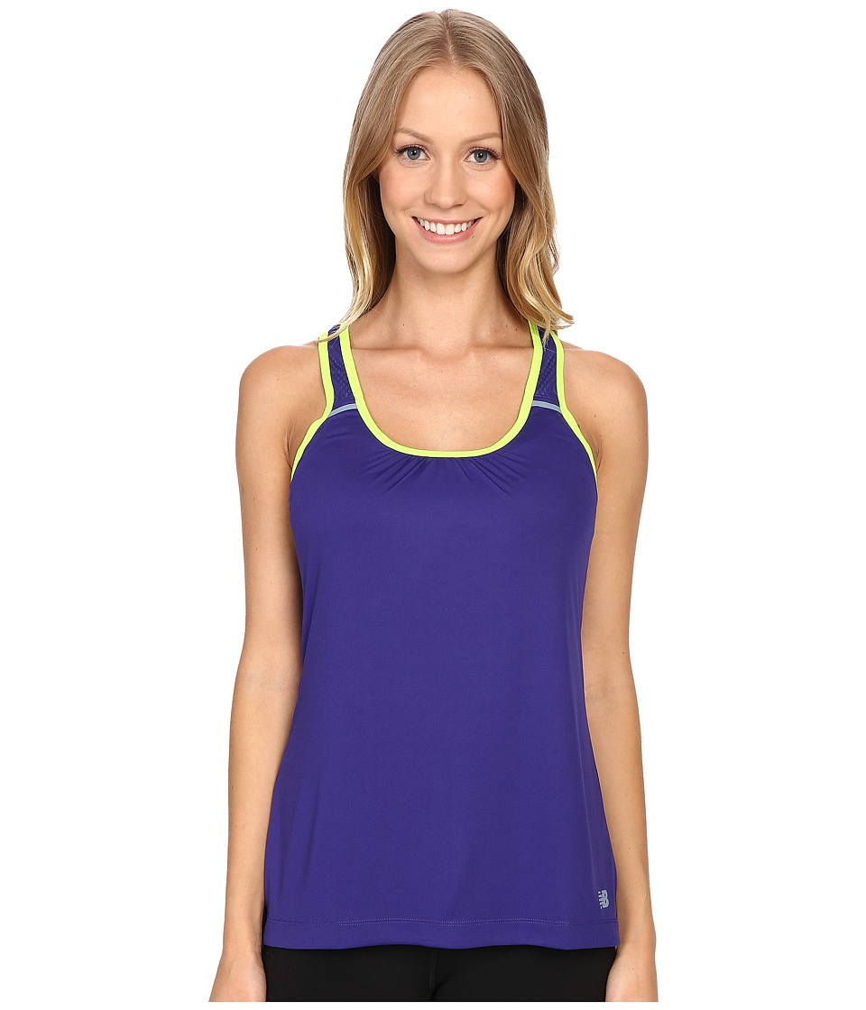 New Balance - Perforated Mesh Striped Tank Top (Lazarite) Women's Sleeveless