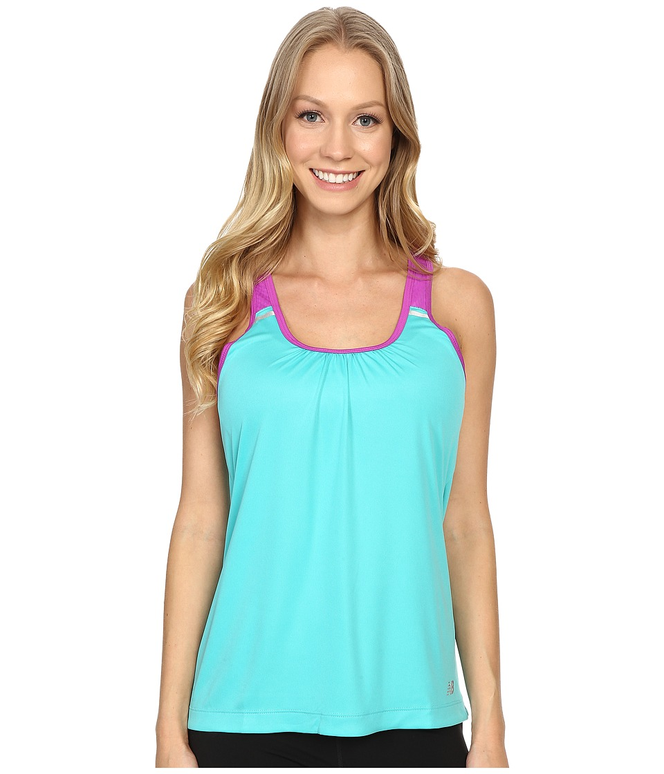 New Balance - Perforated Mesh Striped Tank Top (Tidepool) Women's Sleeveless