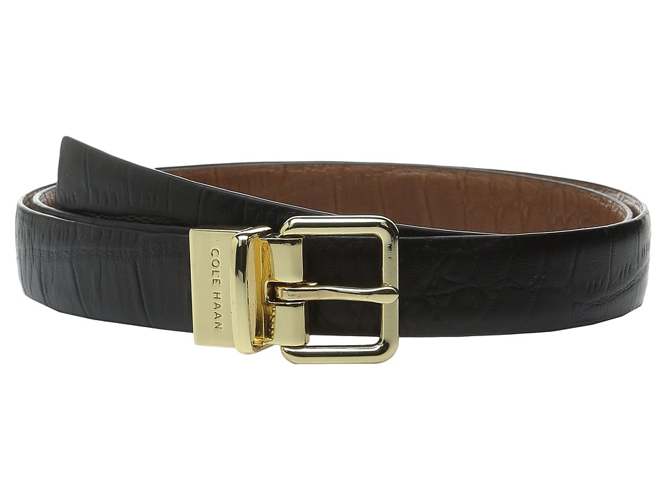 Cole Haan - 25mm Reversible Embossed Croco Belt (Black/Brown) Women's Belts