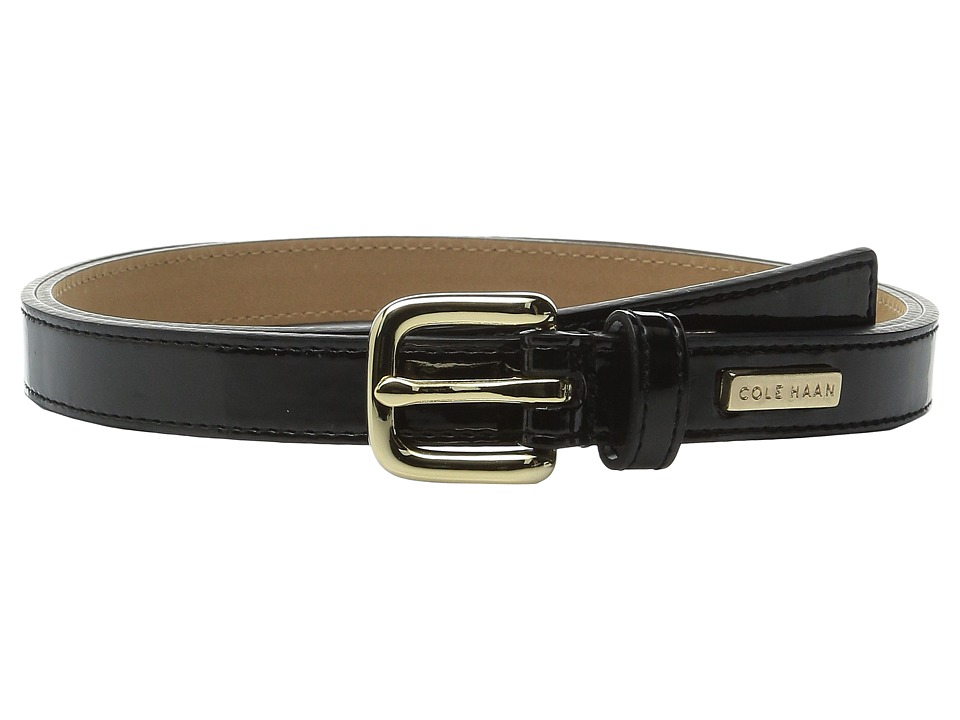 Cole Haan - 25mm Patent Belt with Cole Haan Logo Plaque Under Tab (Black) Women's Belts