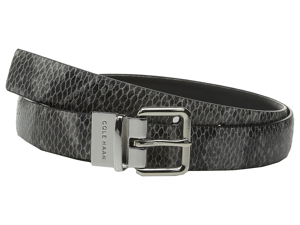 Cole Haan - 25mm Reversible Printed Snake to Silk Calf Belt (Black Snake/Black) Women's Belts