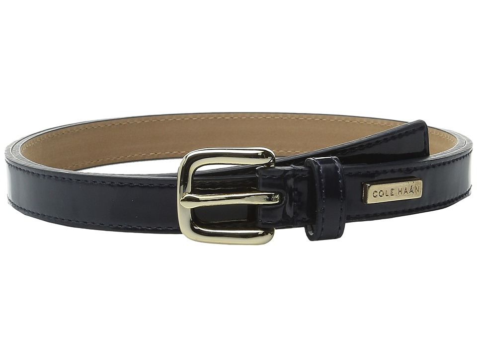 Cole Haan - 25mm Patent Belt with Cole Haan Logo Plaque Under Tab (Blue) Women's Belts