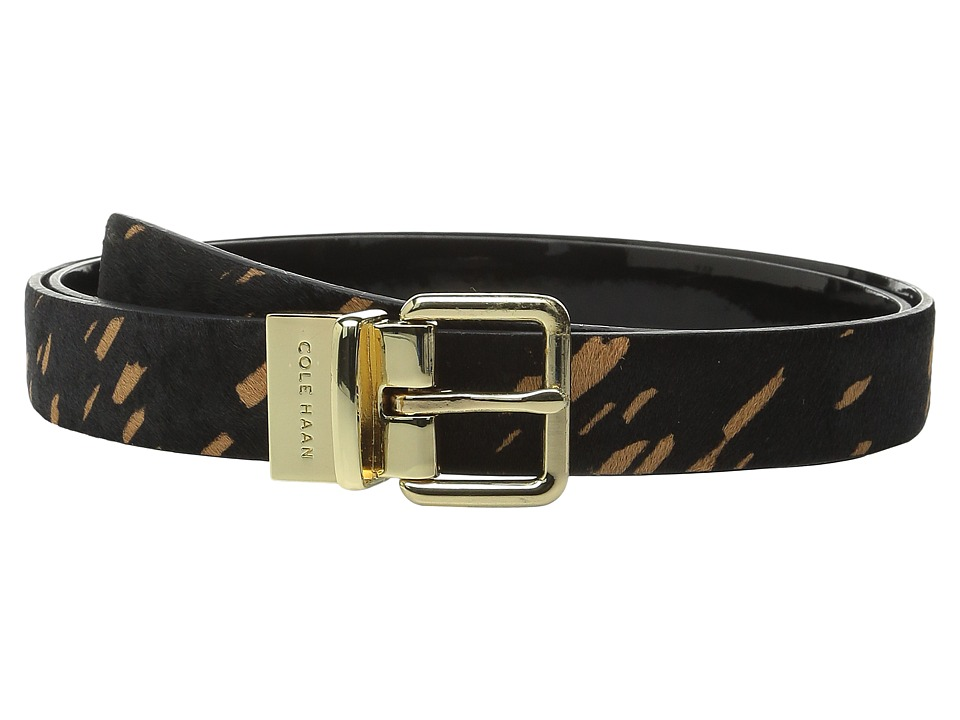 Cole Haan - 25mm Reversible Printed Haircalf to Patent Belt (Black Splatter/Black) Women's Belts
