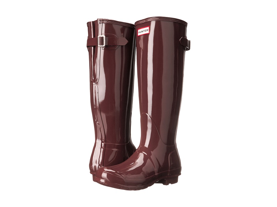 Hunter - Original Back Adjustable Gloss (Umber) Women's Rain Boots