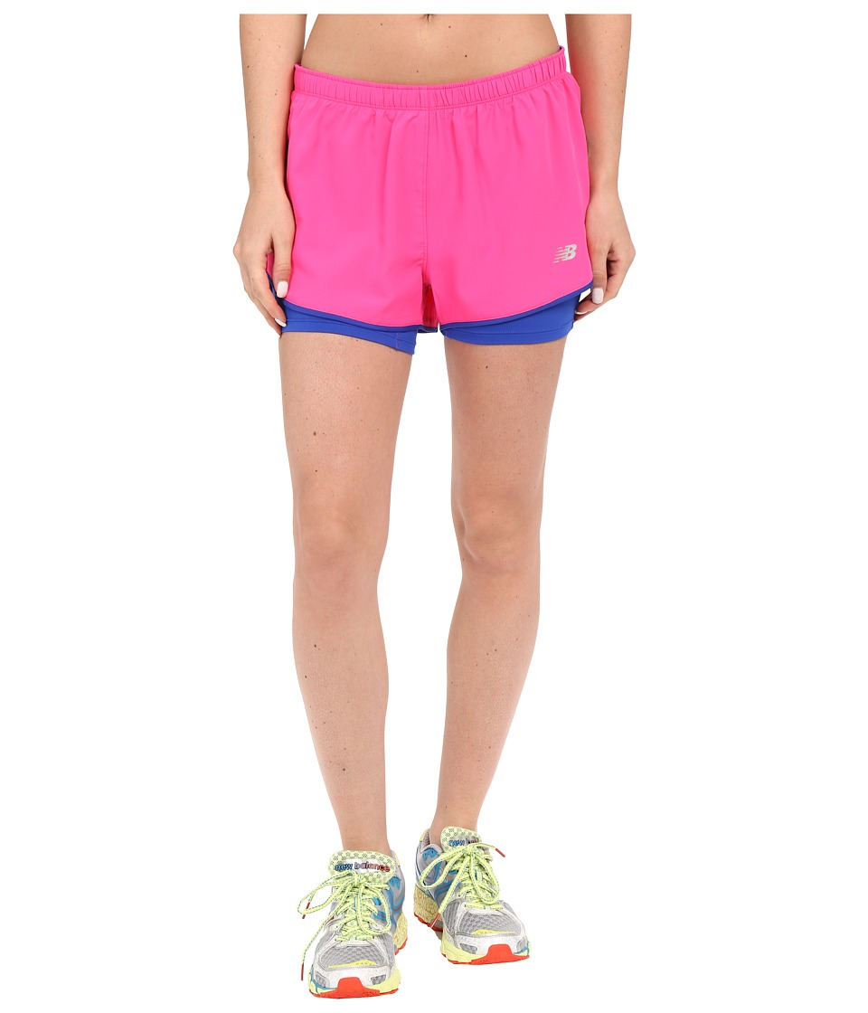 New Balance - Woven 2-in-1 Shorts (Pink Glow) Women's Clothing