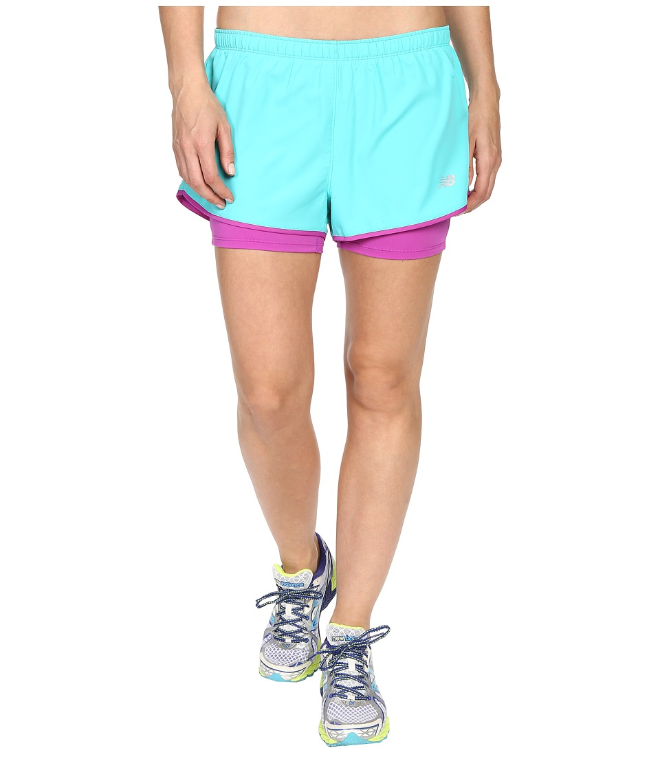 New Balance - Woven 2-in-1 Shorts (Tidepool) Women's Clothing