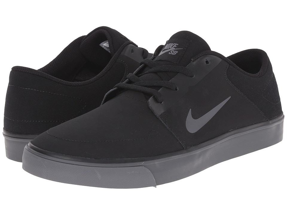 Nike SB - Portmore Nubuck (Black/Black/Dark Grey) Men's Skate Shoes