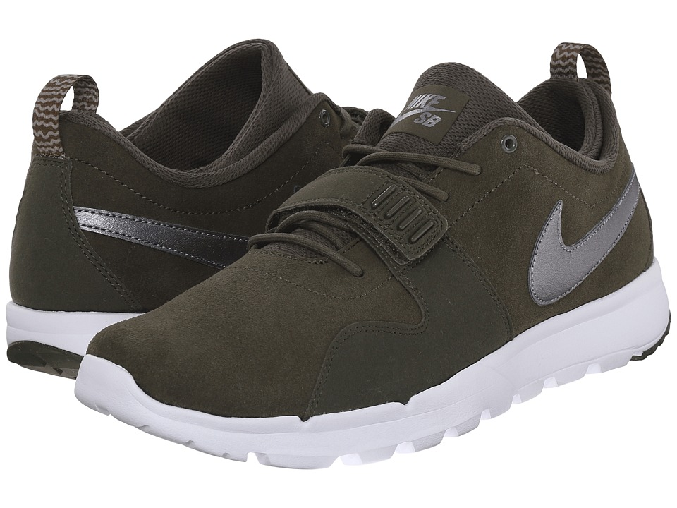 Nike SB - Trainerendor Leather (Cargo Khaki/White/White/Metallic Cool Grey) Men's Skate Shoes