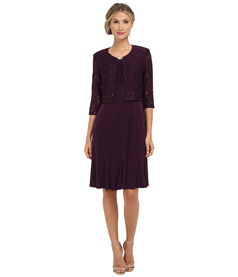 Jessica Howard - Two-Piece 3/4 Sleeve Swing Jacket/Sleevless Inset Waist Dress with Godet Skirt (Plum) Women's Dress