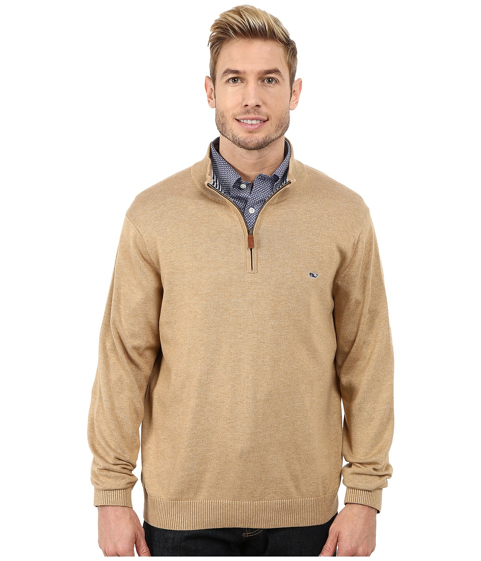 Vineyard Vines - Cotton 1/4 Zip Shirt (Camel) Men's Sweater