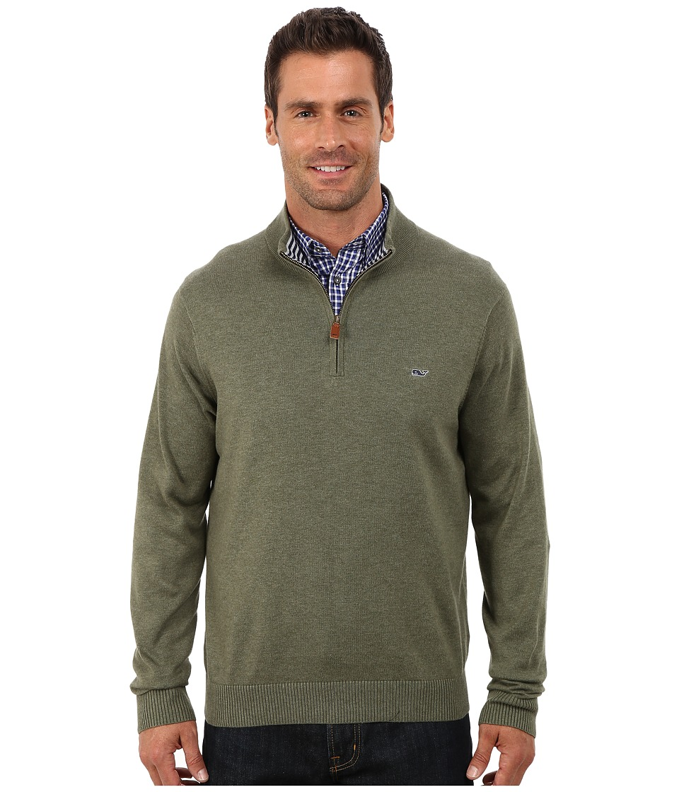 Vineyard Vines - Cotton 1/4 Zip Shirt (Spanish Moss) Men's Sweater