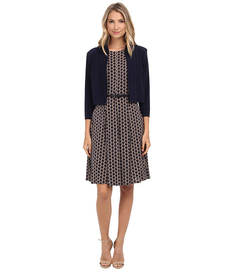 Jessica Howard - Two-Piece 3/4 Sleeve Framed Jacket with Seamed Dress and Belt (Navy/Tan) Women