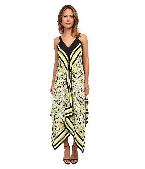 Christin Michaels - Scarf Print Maxi Dress (Lime/Multi) Women