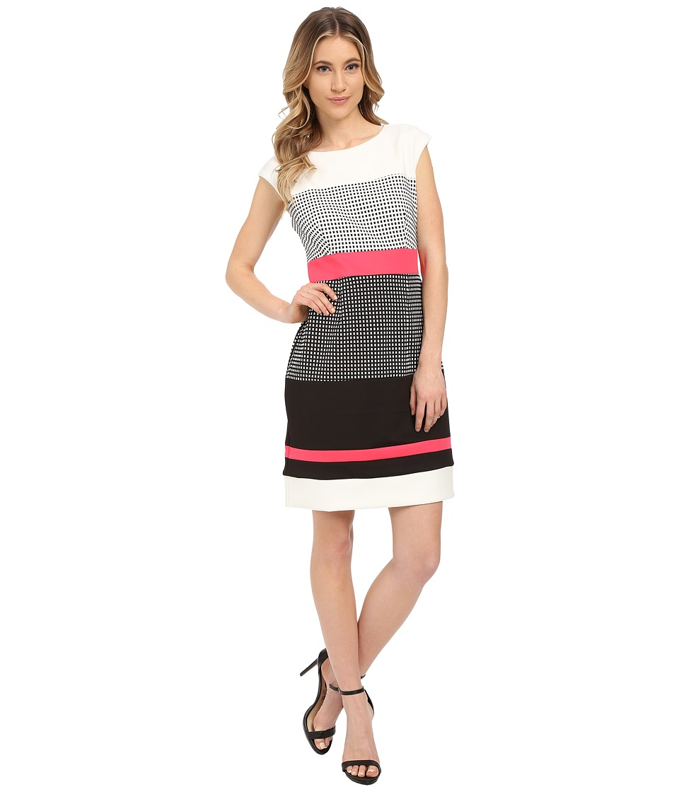 Christin Michaels - Abigail Dress (Ivory/Black/Hot Pink) Women's Dress