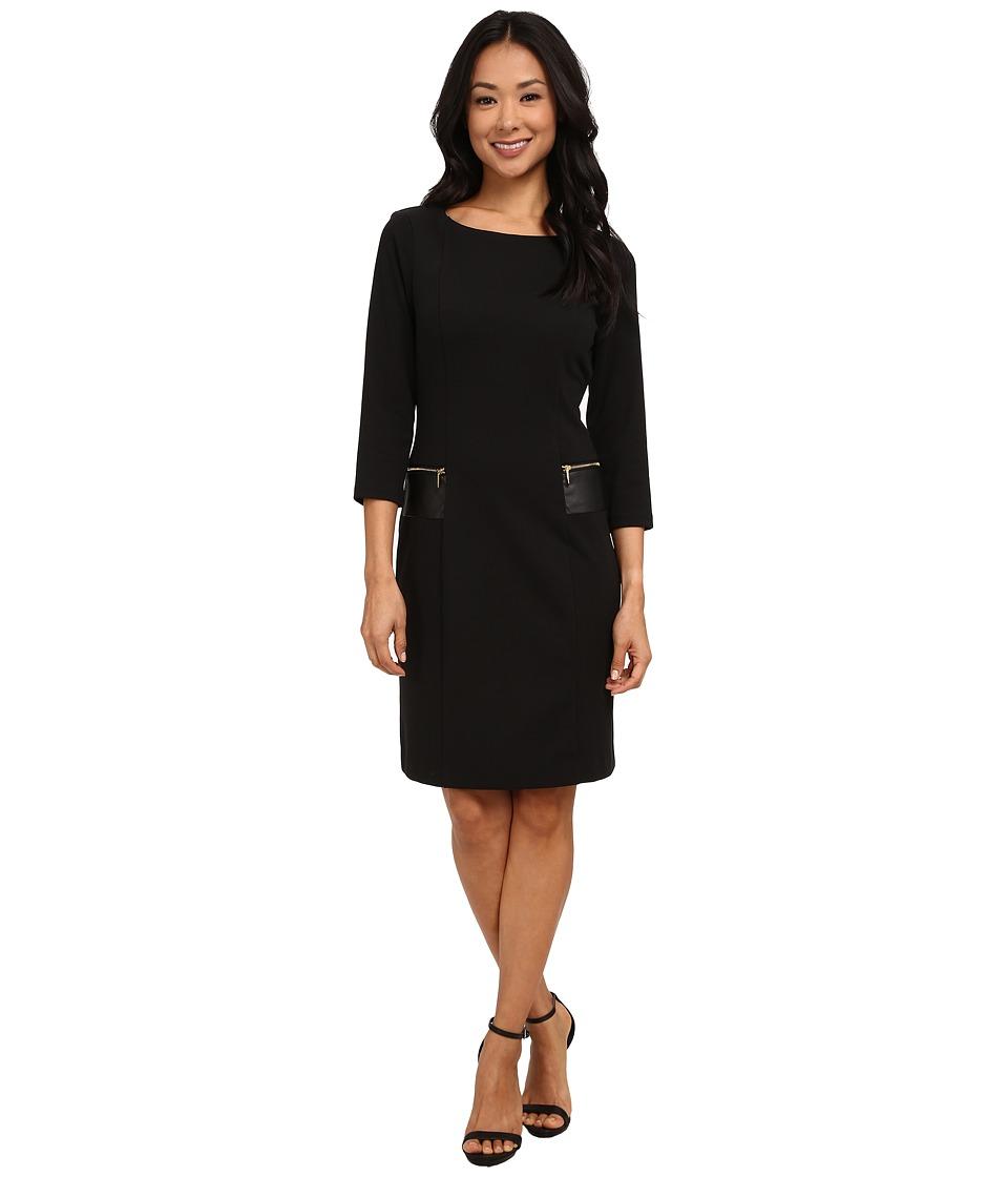 Christin Michaels - Fia Dress w/ Trim (Black) Women