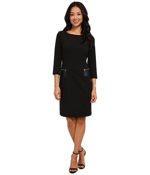 Christin Michaels - Fia Dress w/ Trim (Black) Women