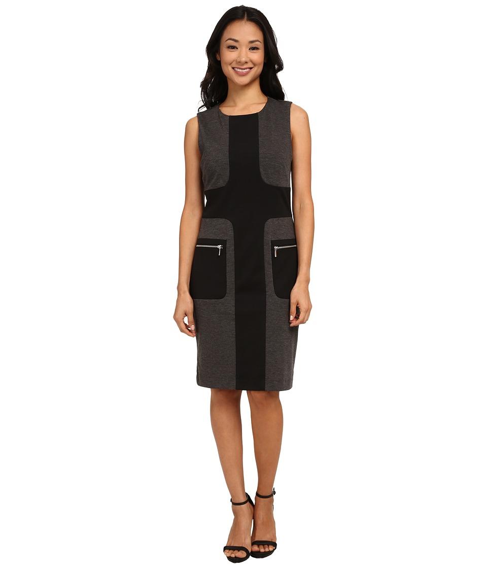 Christin Michaels Calinda Color Blocked Ponte Dress (Charcoal/Black) Women