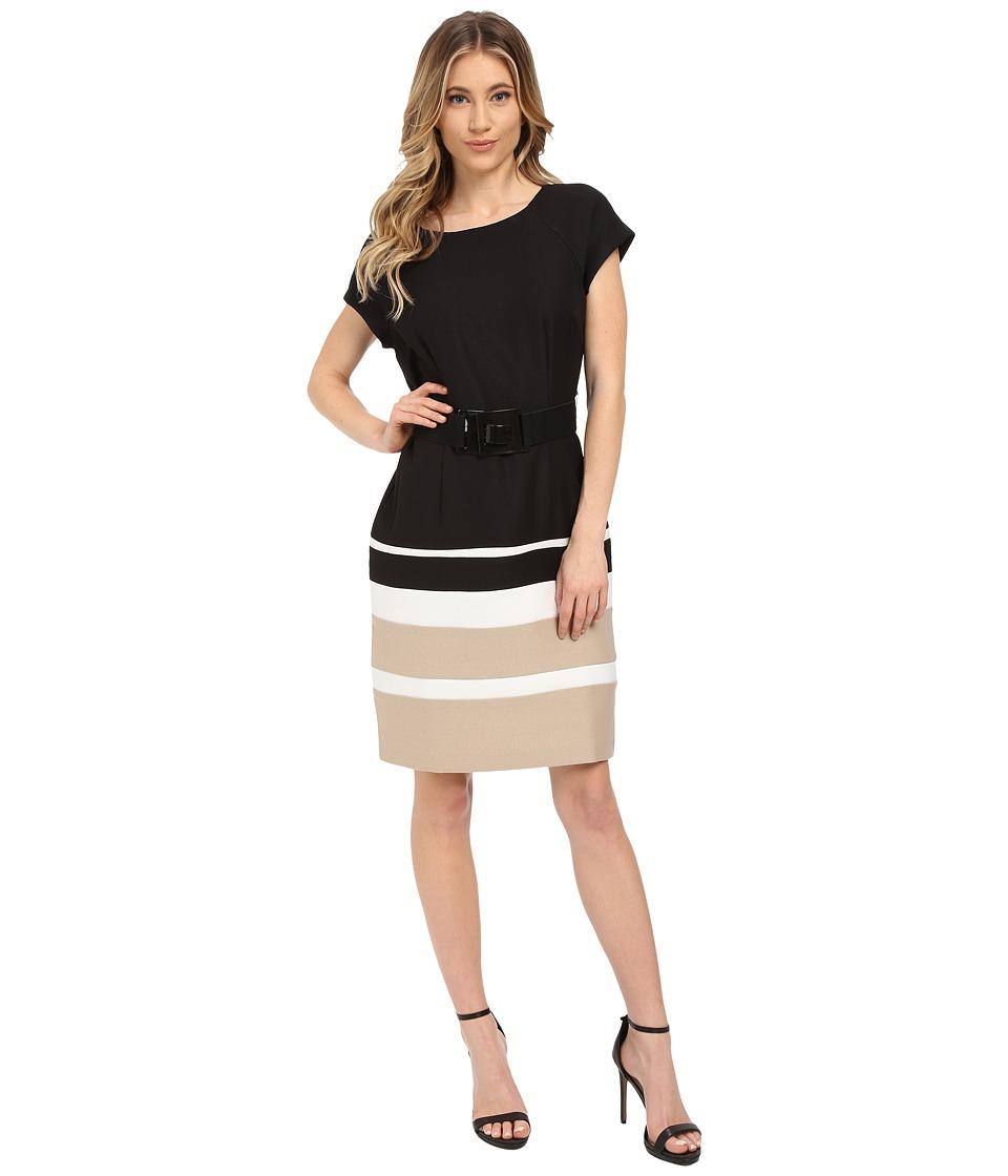 Christin Michaels Carter Dress (Black/Tan/Ivory) Women