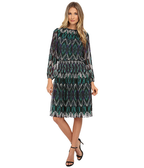Jessica Howard - One-Piece Balloon Sleeve Shirred Neck Smocked Waist Dress with Shirred Skirt (Green Multi) Women's Dress