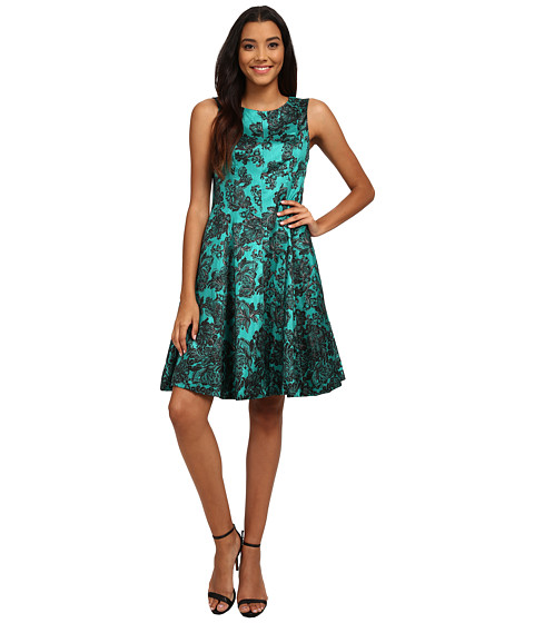 Jessica Howard - One-Piece Sleeveless Seamed Pintuck Fit Flare Dress (Teal) Women
