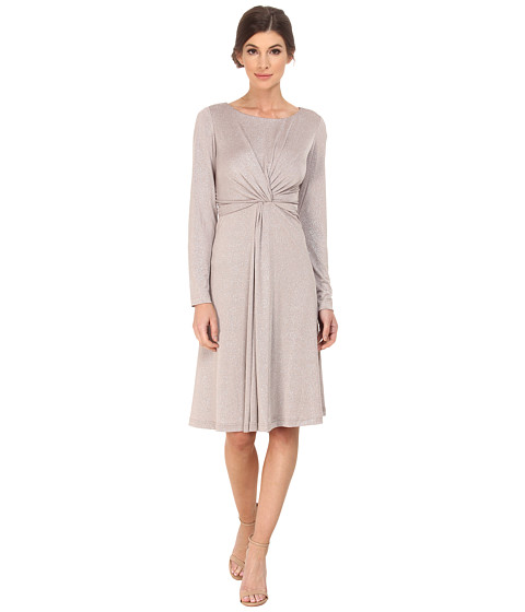 Jessica Howard - One-Piece 3/4 Sleeve Twist Waist Fit Flare Dress (Taupe) Women