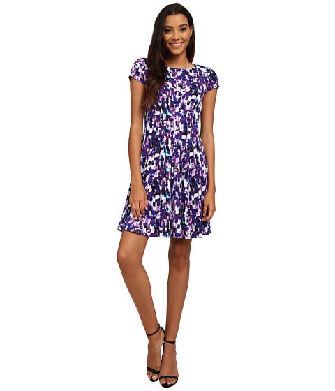 Jessica Howard - One-Piece Cap Sleeve Seamed Pintuck Fit Flare Dress (Purple) Women's Dress