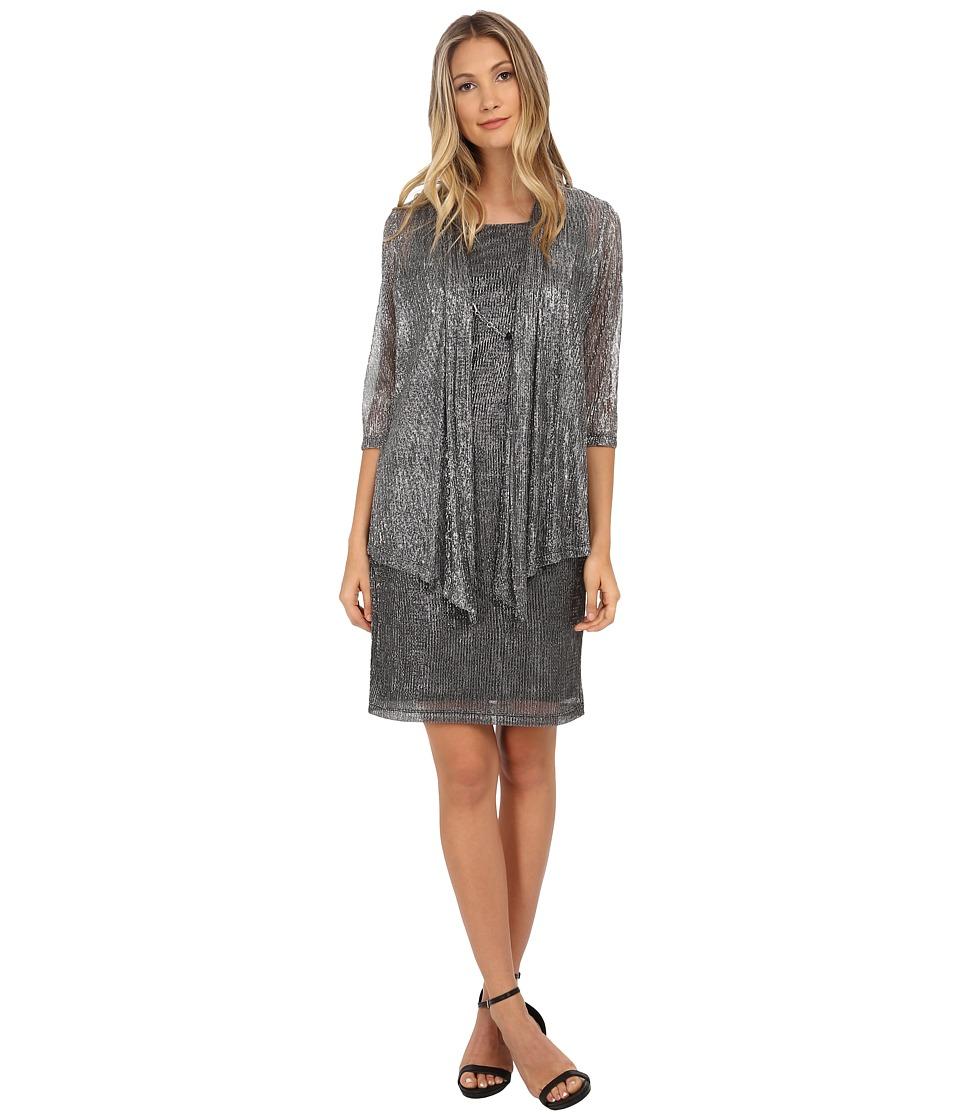 Jessica Howard - Mock Two-Piece Drape Jacket Dress (Black/Silver) Women's Dress
