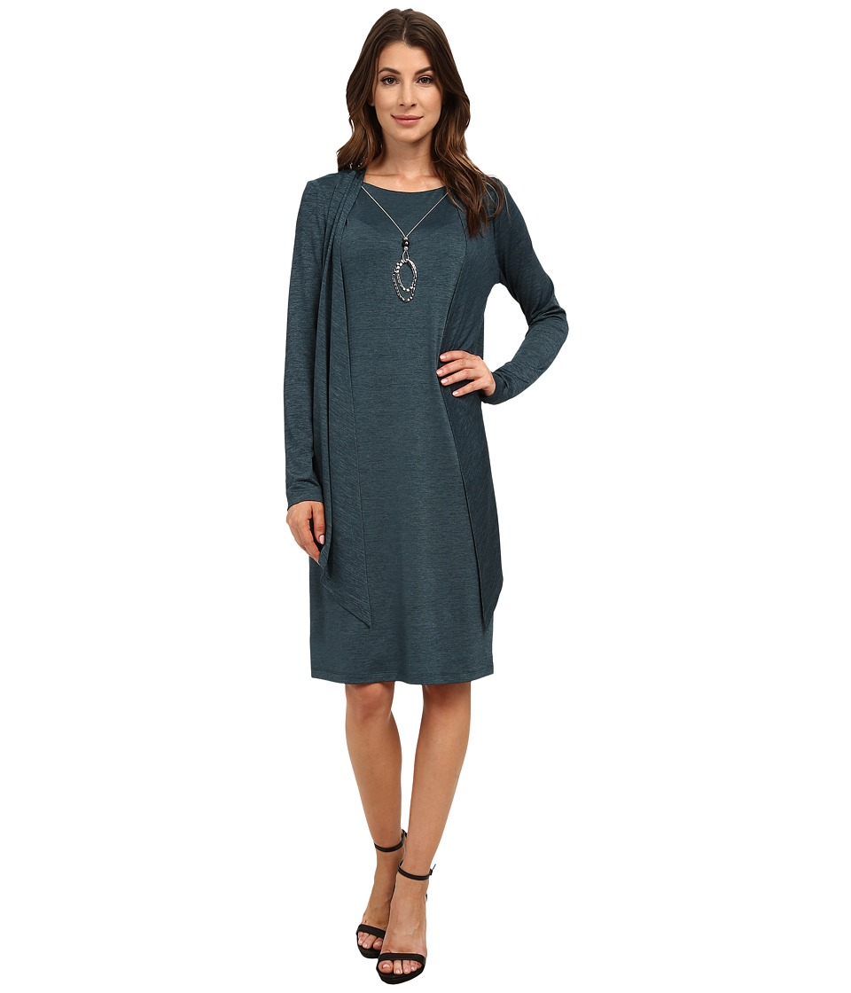 Jessica Howard - Mock Two-Piece Drape Jacket Dress with Necklace (Teal) Women