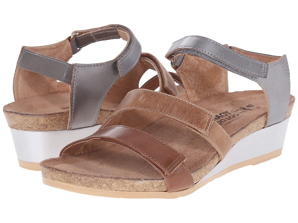 Naot Footwear - Goddess (Maple Brown Leather/Latte Brown Leather/Mirror Leather) Women's Sandals