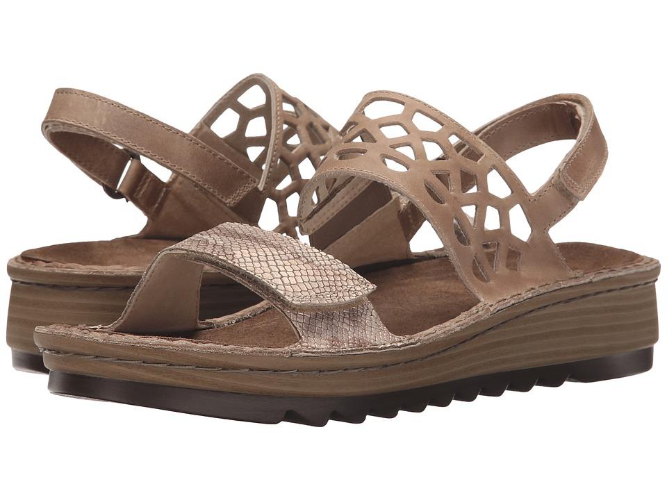 Naot Acacia (Beige Snake Leather/Khaki Beige Leather) Women's Sandals