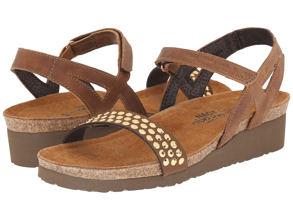 Naot Footwear - Lexi (Saddle Brown Leather/Brown/Copper Rhinestones) Women's Wedge Shoes