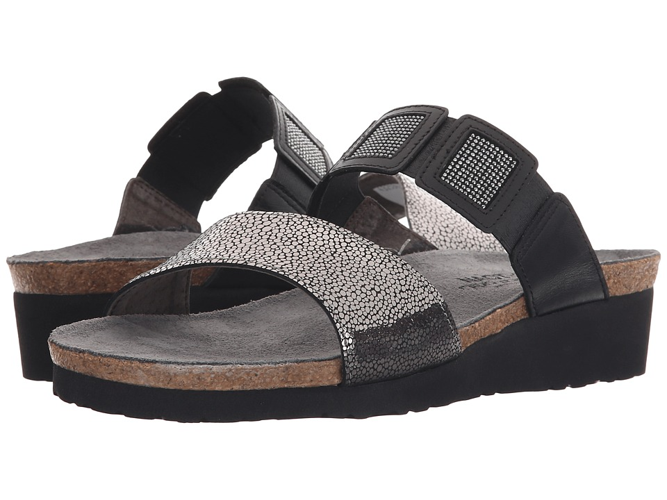 Naot Footwear - Emma (Silver Pebble Leather/Black/Black Rivets/Black Raven Leather) Women's Sandals