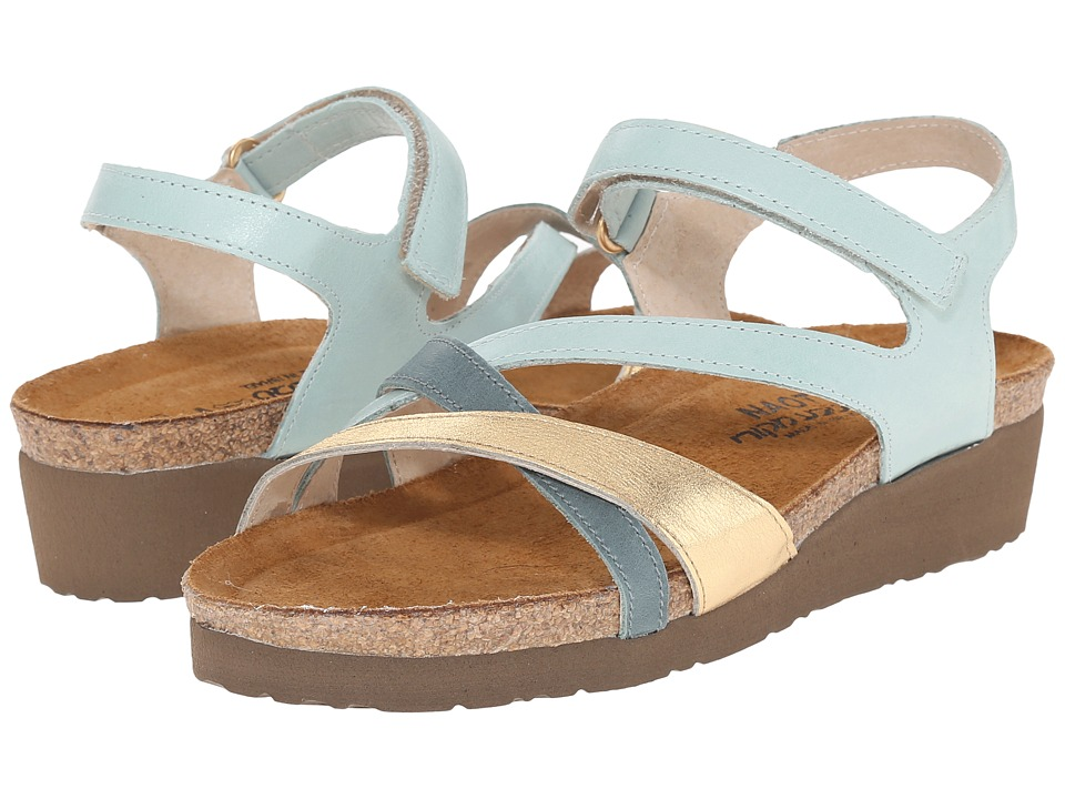 Naot Footwear - Sophia (Celadon Leather/Gold Leather/Sea Green Leather) Women's Sandals