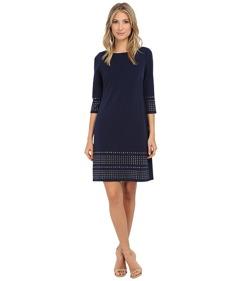 Jessica Howard - One-Piece 3/4 Sleeve Shift Dress with Heat Seal (Navy) Women