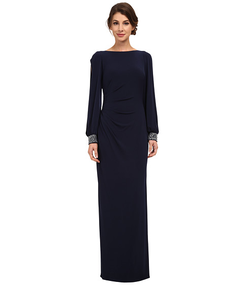 Jessica Howard - One-Piece Beaded Cuff Ballon Sleeve Side Tucked Sheath Dress (Navy) Women