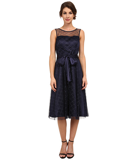Jessica Howard - One-Piece Sleeveless Illusion Neck Belted Dress with Fit Flare Skirt (Navy) Women